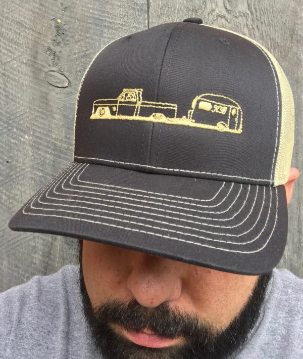 koahberry-dog-trucker hat-happy tails ahead-vintage truck-vintage trailer