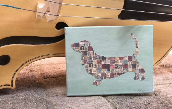 koahberry-dog-basset hound-collage-art-canvas-music-instruments-bluesy basset